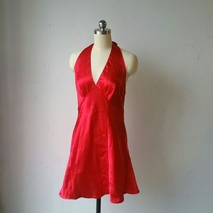 Frederick's of Hollywood Red satin halter gown